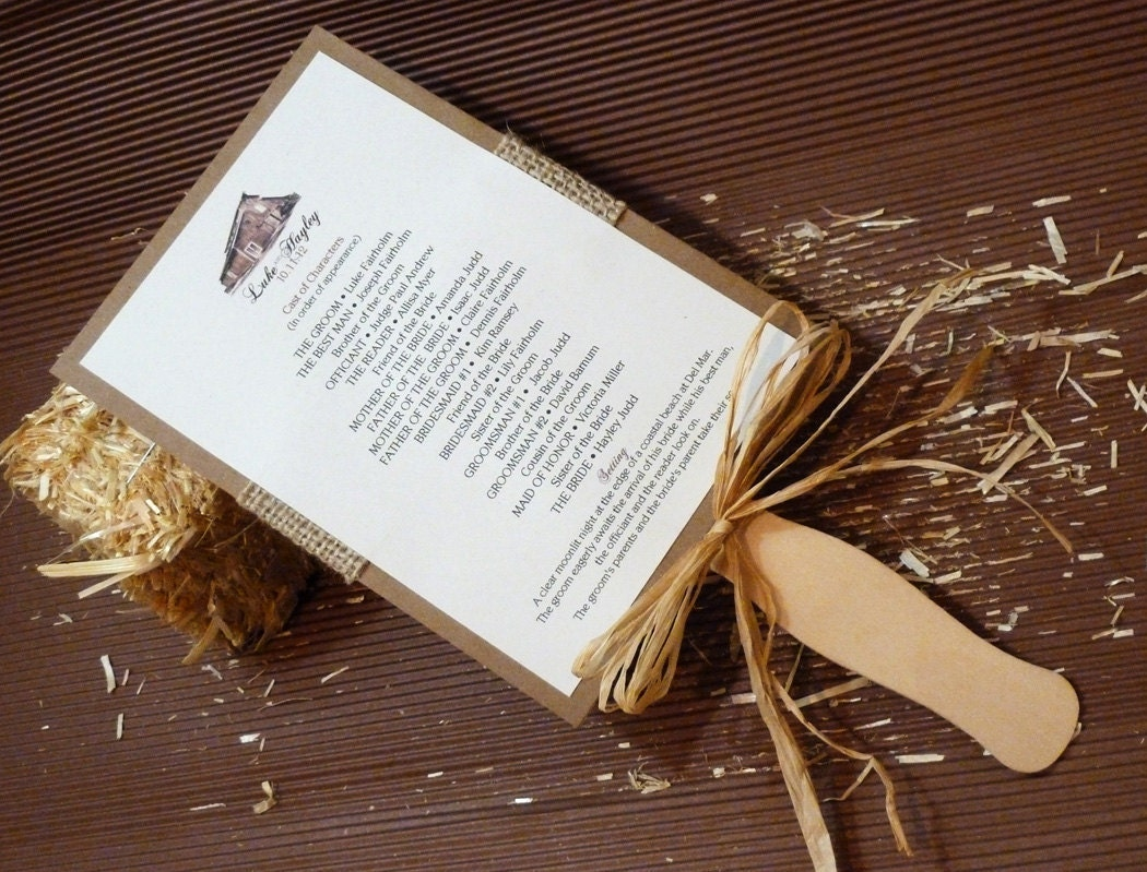 rustic red barn burlap fan fall autumn winery wedding program