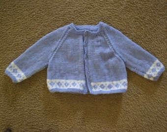 Hand Knit Purple and White Baby Cardigan