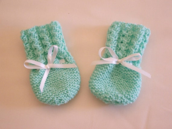Hand Knitted - Green Baby Mittens.