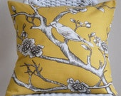 One Dwell Studio Vintage Blossoms Bird in Citrine Pillow Cover 20x20 Cushion Cover