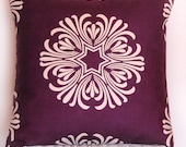 Decorative Pillow Cover Plum Purple and Ivory  Breckenridge by Duralee 20x20 inches
