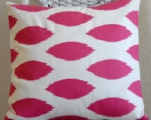 Decorative Pillow Cover Hot Pink Ikat on White Background 16x16 Cushion Cover