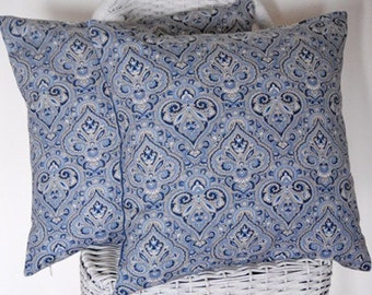 Decorative Pillow Covers (a pair) 18x18 Blue Paisley with Blue Tan Stripes on Back invisible zipper