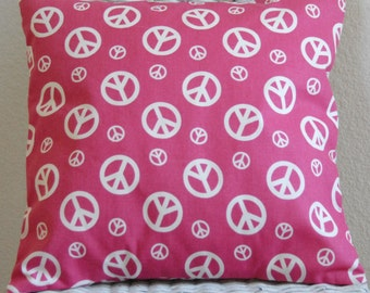 Decorative Pillow Cover White Peace Signs Hot Pink Background 16x16 Cushion Cover