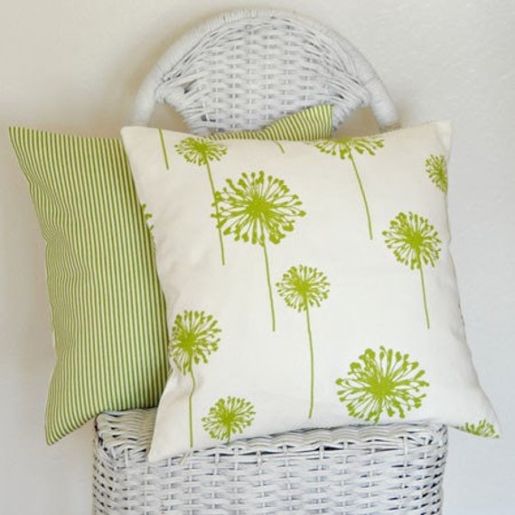 Dandelions in Lime Green on White Background Two 16-inch Pillow Covers