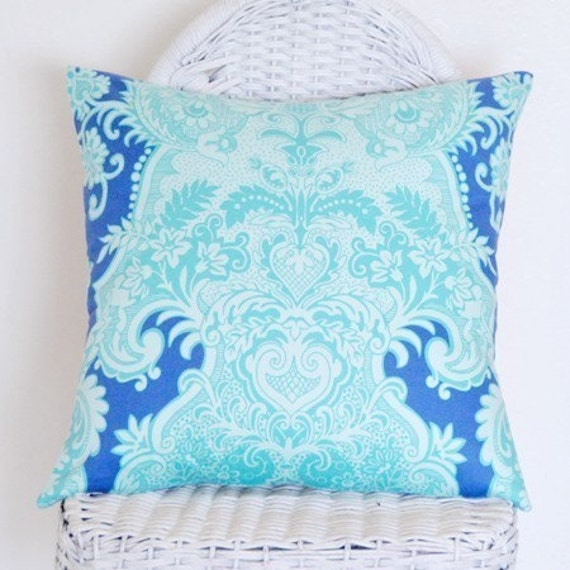 Aqua Blue and Periwinkle Blue Sandalwood by Amy Butler 16x16 Pillow Cover