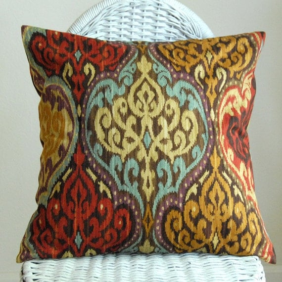 LAST ONE Ikat or Damask Decorative Pillow Cover. Red Tan Blue 18x18 inch  Cushion Cover Pillowcase
