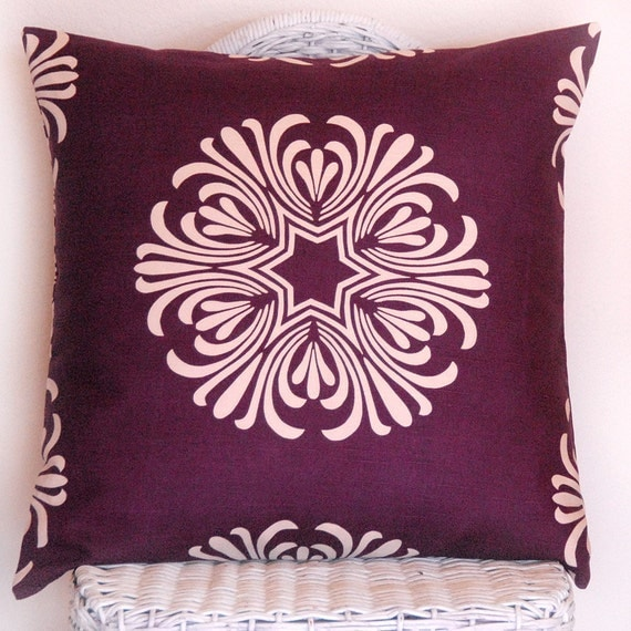 Decorative Pillow Cover Plum Purple and Ivory Breckenridge by