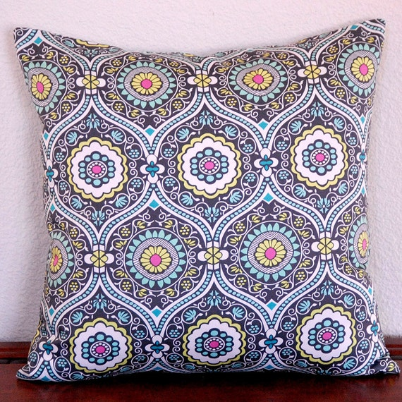 Amy Butler Decorative Pillow Cover Lark Treasure Box Charcoal Aqua Citrine Gray 18x18 cushion coverover