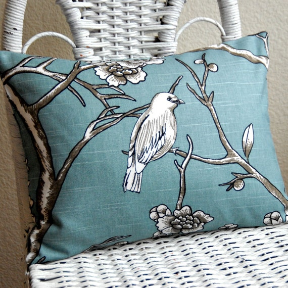 Decorative Pillow: Bird in Teal Dwell Studio Vintage Blossoms Print 12x16 Pillow Cover cushion cover