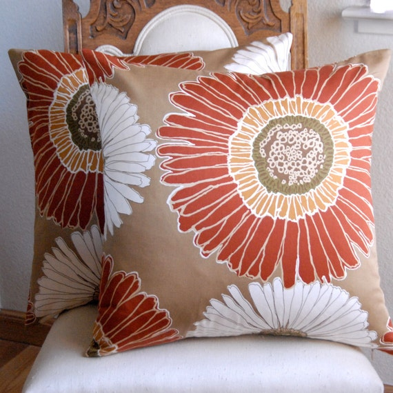 Two Decorative Pillow Covers Duralee 20x20 Pillow Covers in Rust Tan Yellow White Cushion Covers