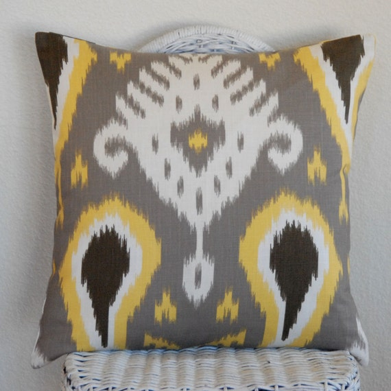 Ikat Dwell Studio Batavia Citrine Yellow Gray White 20x20 Decorative Pillow Cushion Cover