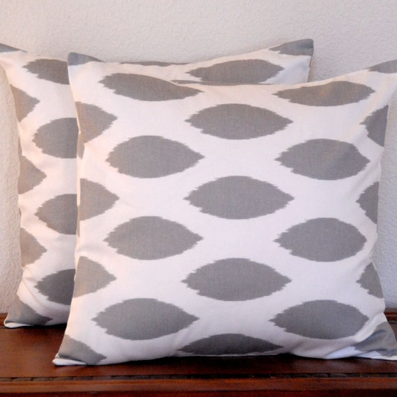 Decorative Pillow Covers Gray Ikats on White Background (Two)18x18 Cushion Covers
