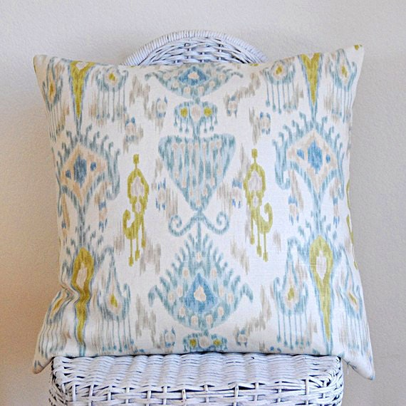 Decorative Ikat Pillow Cover Khanjali by Robert Allen Pillow Cover Blue Greens on Ivory 18x18 cushion cover