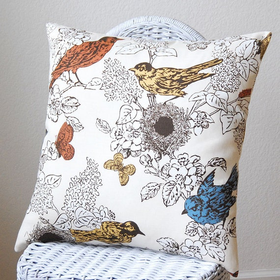 Decorative Pillow Perch by Thomas Paul Birds Butterflies Nest Red Gold Blue on Ivory Background 18x18 inch Pillow Cover Cushion Cover