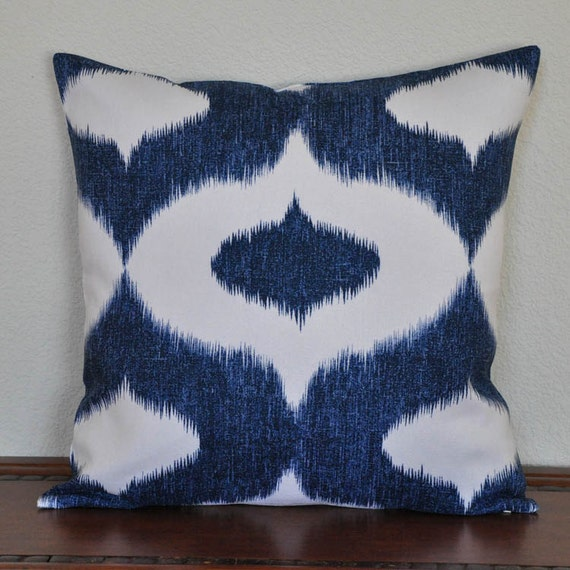 Navy Blue and White Ikat Print 20x20 inch Decorative Pillow Cover