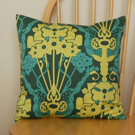 Teal Yellow and Green Pillow Cover 16x16