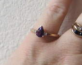 Exceptionally pretty 10K gold Natural Amethyst Teardrop Ring with Diamond Accents,  very nice vintage, size 8, free US shipping
