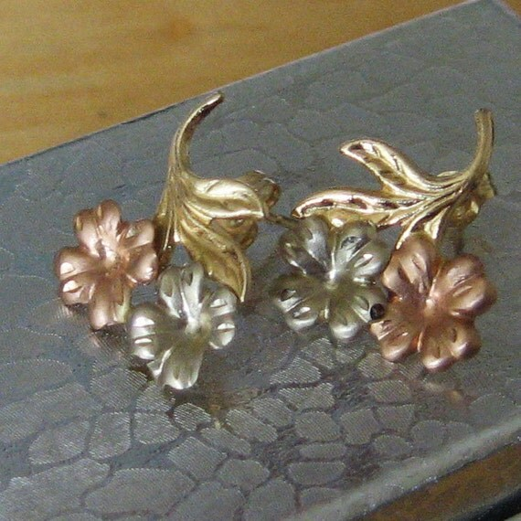 Unusual Tricolor Gold flower earrings, marked 14K, free US shipping on vintage
