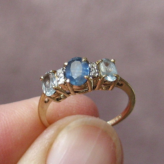 Vintage 10K gold Sapphire and Aquamarine Ring, size 5.5, free US shipping