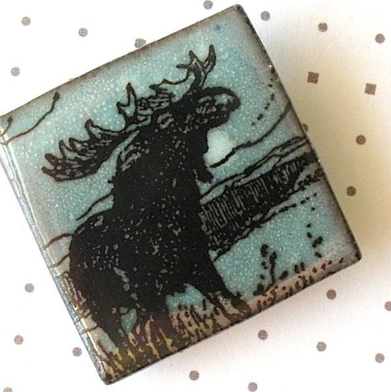 Moose Brooch.  Light Jade Green on Black Porcelain Square