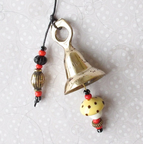 Beaded Garden Chime:  Windchime with Red, Yellow, Black & White Glass Beads. Mirthful Mushrooms 2.  Brass Bell