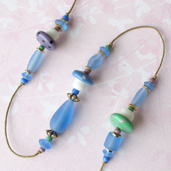 Beaded Garden Chime:  Windchime with Blue, Green, Purple & Pink Glass Beads. Mirthful Mushrooms 3.  Brass Bell