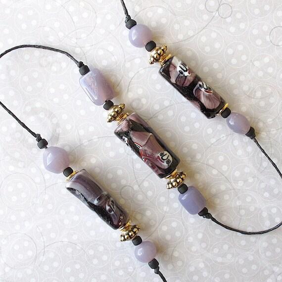 Beaded Garden Chime: Windchime with Purple & Black Lampwork Glass Beads.  Gold Heart Charm.  Brass Bell
