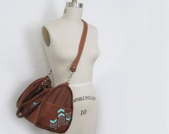 SATCHEL - leather satchel bag - chevron leather bag - toffee brown leather bag - geometric bag - crossbody bag - leather purse - handbag