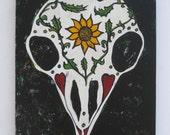 bird dia de los muertos painting