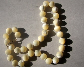 Vintage Milky Opalescent Glass Bead Necklace...Hard to Find...