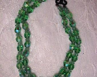 Double Strand Vintage Green Glass Bead Necklace