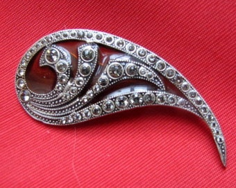 French Paisley Amber Resin and Marcasite Brooch
