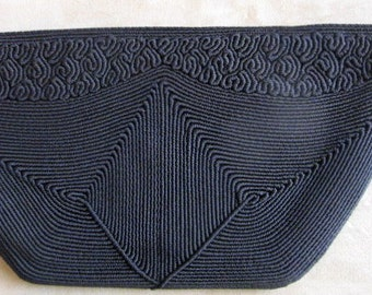 Vintage Black Corded Clutch