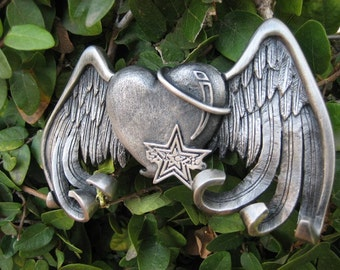 Heart with wings belt buckle by sickapparel