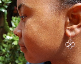 Sterling Silver Wire Flower Earrings