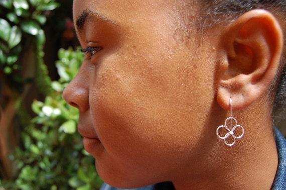Sterling Silver Wire Flower Earrings