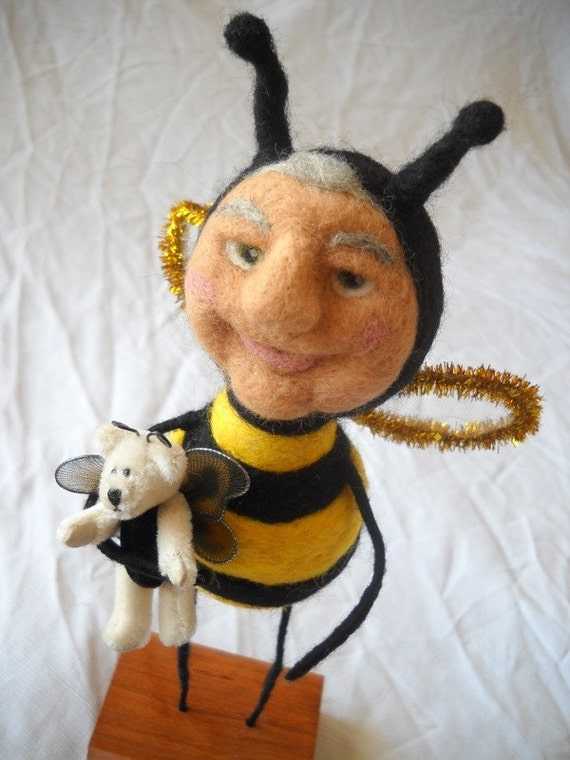 The Bees Knees needle felted art doll