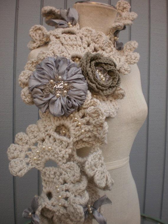crochet scarf, flower scarf, winter scarf, women scarf ,handmade scarf ,long scarf, gift scarf warm scarf, bridal scarf, white scarf