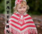Crochet Poncho Pattern with Hat Set Infant thru 4T - Pattern 305 INSTANT DOWNLOAD