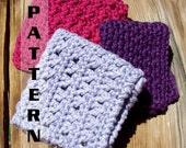 Spa  Washcloths Dishcloths Set I - 3 Different Designs - Crochet Pattern 401  INSTANT DOWNLOAD