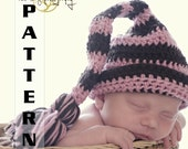 Easy Crochet Pattern Infant striped gnome elf stocking hat - Pattern 307 INSTANT DOWNLOAD