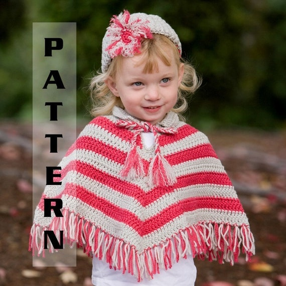 Crochet Poncho Pattern with Hat Set Infant by PlayingWithFiber