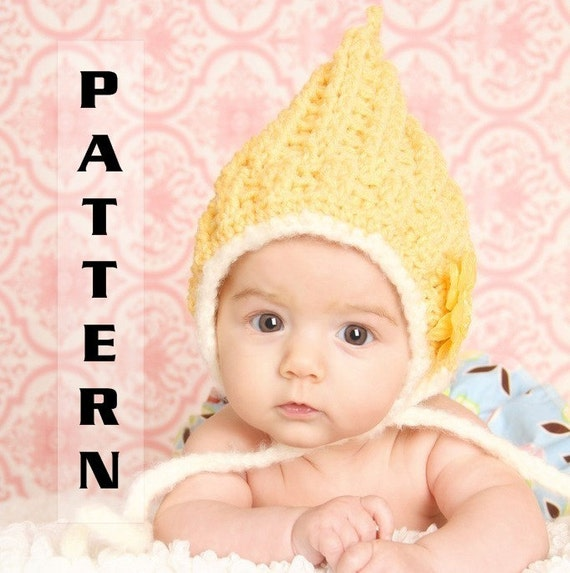 Baby Pixie Gnome Hat sizes to 12 months - Crochet Pattern 303  INSTANT DOWNLOAD