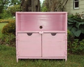 Shabby Chic Pink TV Cabinet Bench Book Case Primitive Antique Vintage Entertainment Media Center Night Stand Wood Wooden