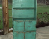 "48"" TALL Reclaimed Wood look Turquoise BookCase Book case Storage Unit Tv Stand SHABBY CHIC Contemporary wood Entertainment Center Mini Bar"