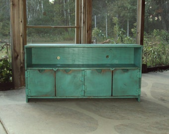 "TV Cabinet Storage bench 48"" wide Shabby Chic Entertainment Center distressed Turquoise Primitive Wood Plasma Big Screen TV Stand"