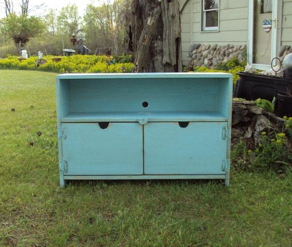 primitive robins egg blue tv cabinet entertainment by. Black Bedroom Furniture Sets. Home Design Ideas