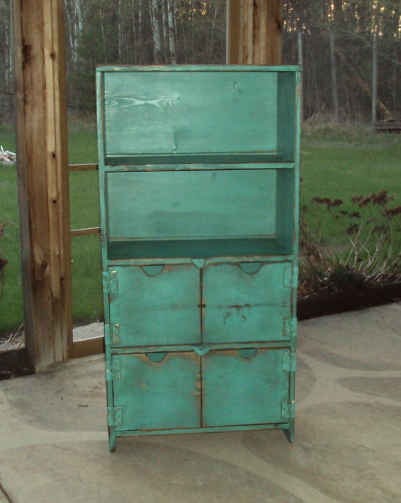 48 Inch TALL Distressed Turquoise Book Case Storage Unit SHABBY CHIC Contemporary wood wooden Entertainment Center Mini Bar