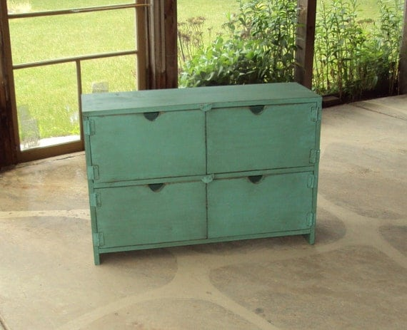 "36"" Wide Distressed Turquoise Toy Chest Dresser Desk Primitive Storage Unit Entertainment Center Shabby Chic"